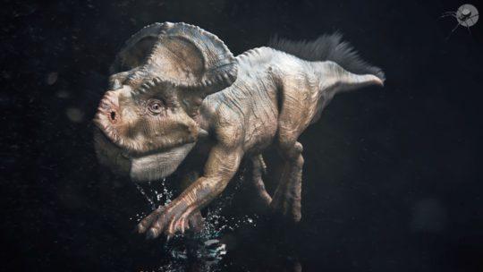 Protoceratopo corsa in acqua