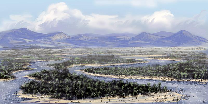 ricostruzione dell'ambiente tipico del devoniano